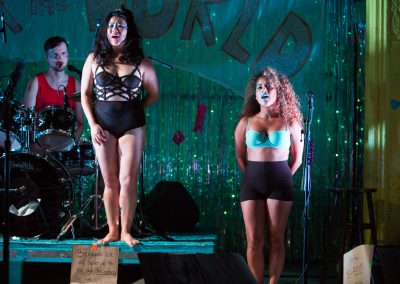 Diana Oh and Rocky Vega in {my lingerie play} at Rattlestick Playwrights Theater - photo by Jeremy Daniel